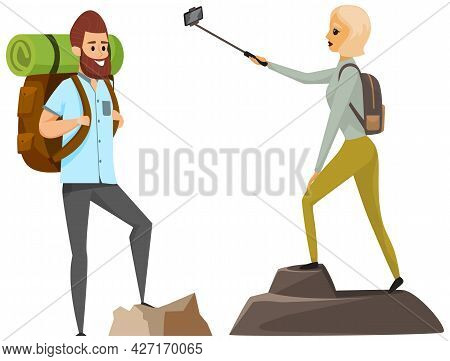 Happy Climbers Reached Summit Of Mountain. Traveling And Technology Concept. Lady With Smartphone Is