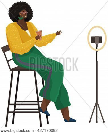 Woman Is Recording Video On Smartphone. African American Girl Is Broadcasting Live, Podcasting Using