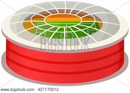 Sports Stadium Arena Vector Illustration In Flat Style. Modern Football Arena Isolated On White Back