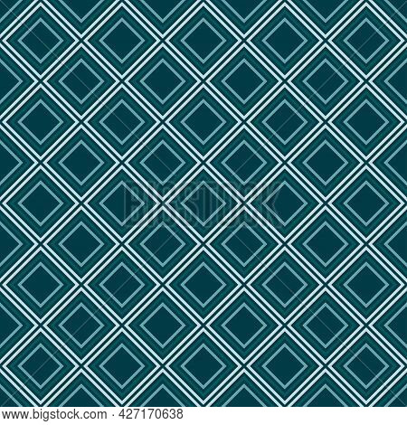 Seamless Diamond Vibrant Contrast Teal And White Pattern Vector Background