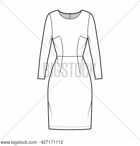 Dress Sheath Technical Fashion Illustration With Long Sleeves, Natural Waistline, Fitted Body, Knee