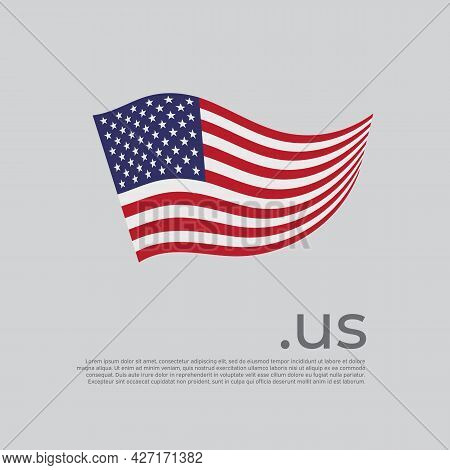 Usa Flag. Vector Stylized Us National Poster Design On White Background. Wavy American Flag With Us