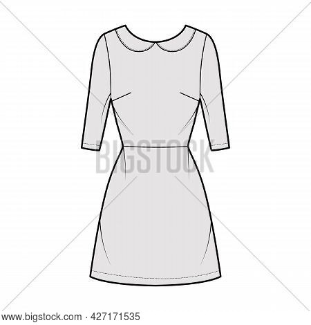 Dress A-line Technical Fashion Illustration With Elbow Sleeves, Peter Pan Collar, Fitted Body, Above