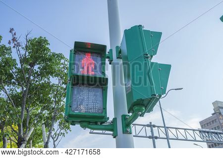 No Crossing Traffic Light At Intersection For Pedestrians In Taiwan