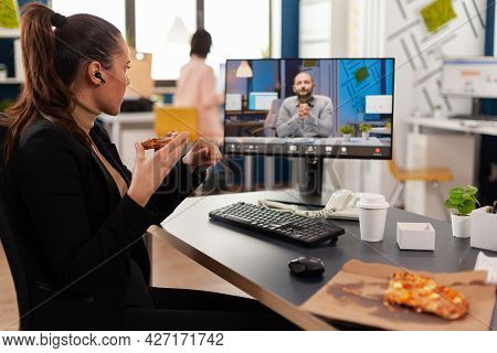 Manager Woman Discussing With Remote Entrepreneur During Online Videocall Meeting Conference Having