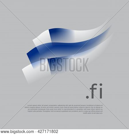 Finland Flag Watercolor. Stripes Colors Of The Finnish Flag On A White Background. Vector Stylized D