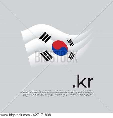 South Korea Flag. Stripes Colors Of The South Korean Flag On A White Background. Vector Stylized Des