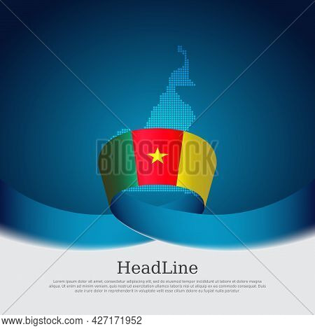 Cameroon Flag, Mosaic Map On Blue White Background. Wavy Ribbon With The Cameroon Flag. Vector Banne