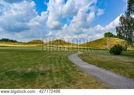 Old Uppsala With Grave Field And Large Mounds