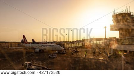 Catania Airport - May, 27: View Of The Airplanes Of Turkish Airlines And Wizz Air Docked In The Airp