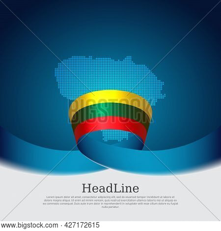 Lithuania Flag, Mosaic Map On Blue White Background. Wavy Ribbon With The Lithuanian Flag. Vector Ba