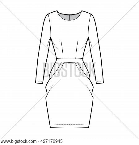 Dress Tulip Technical Fashion Illustration With Long Sleeves, Fitted Body, Knee Length Peg-top Penci