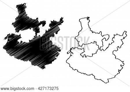 Rhein-neckar District (federal Republic Of Germany, Rural District, Baden-wurttemberg State) Map Vec