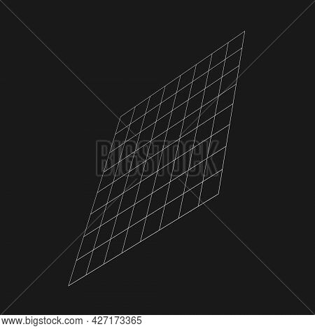 Retrofuturistic Perspective Grid At An Angle. Cyber Design Element. Grid In Cyberpunk 80s Style. Geo