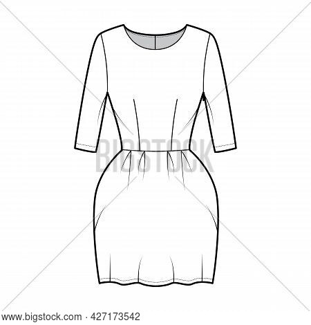Dress Bell Technical Fashion Illustration With Elbow Sleeves, Fitted Body, Mini Length Pencil Skirt.