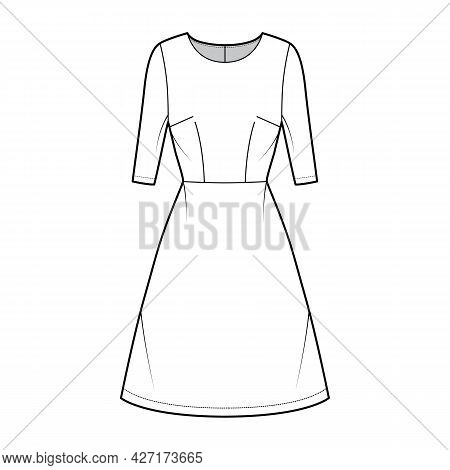 Dress A-line Technical Fashion Illustration With Elbow Sleeves, Fitted Body, Natural Waistline, Knee