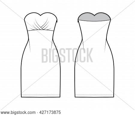 Dress Tube Technical Fashion Illustration With Strapless, Fitted Body, Knee Length Pencil Skirt. Fla