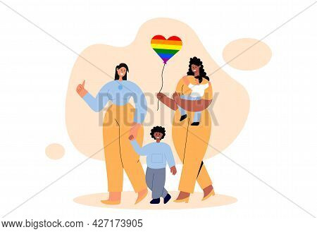 Interracial Lesbian Couple With Kids. Gay Parents Walk With Their Adopted Children And Express Love