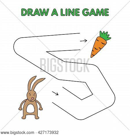 Cartoon Hare Game For Small Children - Draw A Line. Vector Illustration For Kids Education