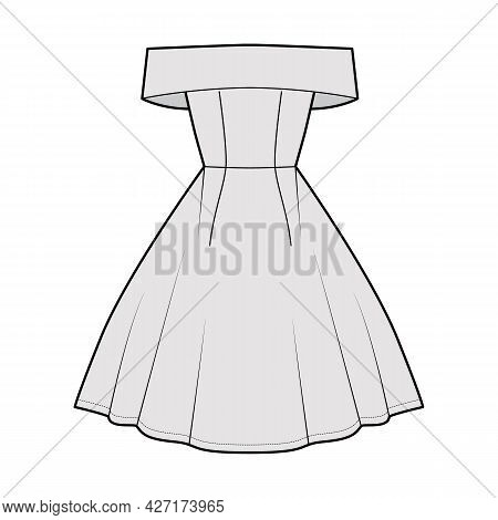Dress Off-the-shoulder Bardot Technical Fashion Illustration With Sleeveless, Fitted Body, Knee Leng