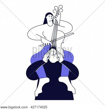 A Woman Sits On A Mans Neck And Plays On His Hair Like A Cello.