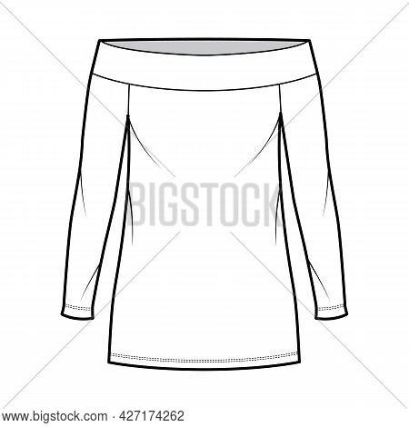 Dress Off-the-shoulder Bardot Technical Fashion Illustration With Long Sleeves, Oversized Body, Mini