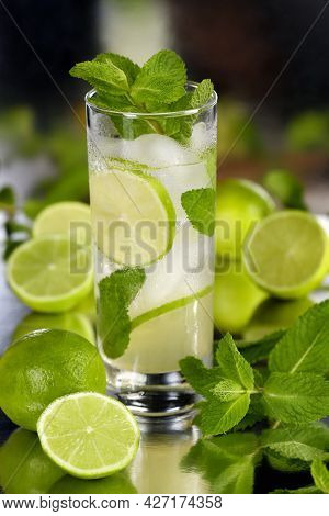 Refreshing Organic Mojito Cocktail Made From Fresh Lime, White Rum Combined With Fresh Juice And Min