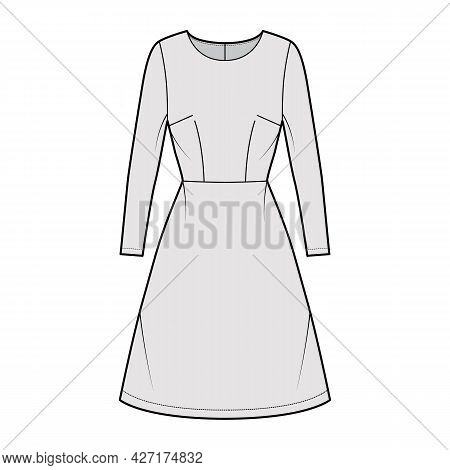 Dress A-line Technical Fashion Illustration With Long Sleeves, Fitted Body, Natural Waistline, Knee