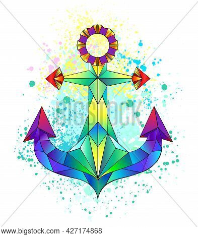 Artistically Drawn Iridescent, Bright, Polygonal Anchor With Bright Splashes Of Paint On White Backg