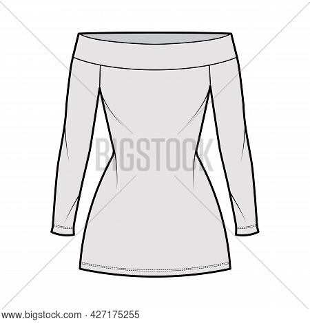 Dress Off-the-shoulder Bardot Technical Fashion Illustration With Long Sleeves, Fitted Body, Mini Le