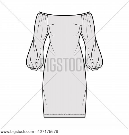 Dress Off-the-shoulder Bardot Technical Fashion Illustration With Long Puff Sleeves, Fitted Body, Kn