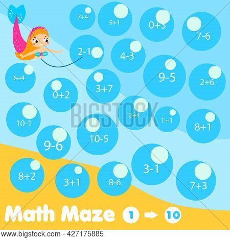 Educational Children Game. Mathematics Maze. Labyrinth With Equations. Counting From One To Ten. Hel