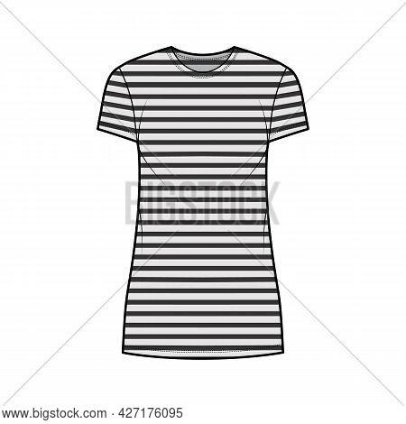 Dress Sailor Technical Fashion Illustration With Stripes, Short Sleeves, Oversized Body, Mini Length