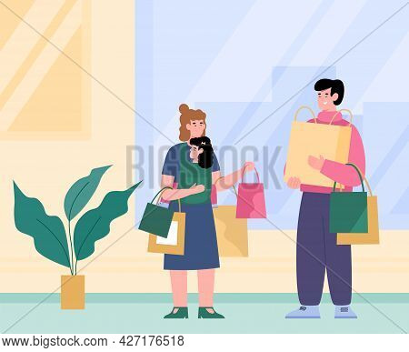 Happy Family Of Shoppers With Lot Of Shopping Bags In Hands A Vector Illustration
