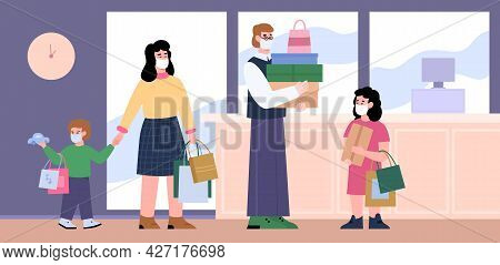 Happy Family Of Shoppers In Facial Masks Shopping At Store Or Mall.