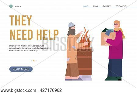 Web Banner For Charity, Donation, Help To Poor Homeless Persons Living In Poverty