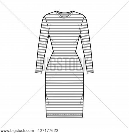 Dress Sailor Technical Fashion Illustration With Stripes, Long Sleeves, Fitted Body, Knee Length Pen