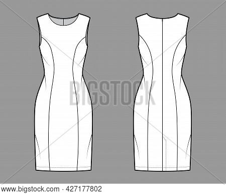 Dress Princess Line Technical Fashion Illustration With Sleeveless, Fitted Body, Knee Length Pencil