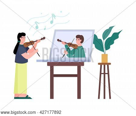 Learning Or Conducting Online Music Lesson How To Play On Violin.