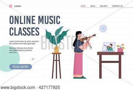 Web Banner For Learning Or Creating Video Online Music Lesson How Play On Violin