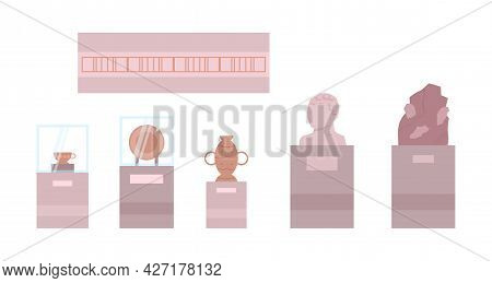 Collection Of History Archeology Museum Exhibits, Vector Illustration Isolated.