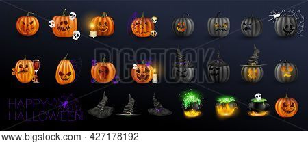 Vector Illustration. Yellow Pumpkins For Halloween. Jack-o-lantern Facial Expressions. Horror Person
