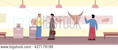 Visitors Watching Exhibition In Museum Of Ancient Art Flat Vector Illustration.