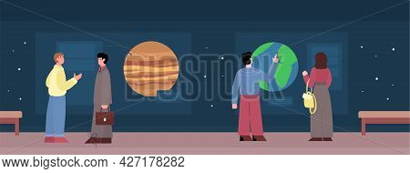 Planetarium Exhibit Hall Interior With Visitors, Cartoon Vector Illustration.
