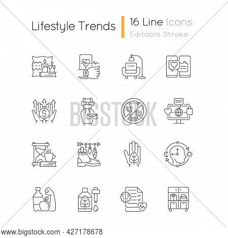 Lifestyle Trends Linear Icons Set. Hygge Atmosphere. Health Tracking. Digital Detox. Vintage Fashion
