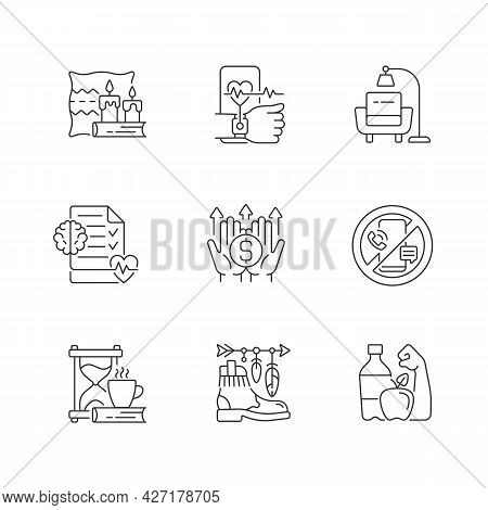 Modern Lifestyle And Health Linear Icons Set. Cozy Interior. Minimalism. Mental Wellbeing. Customiza