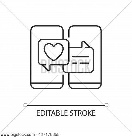 Online Dating Linear Icon. Popular Trend During Pandemic. Internet Interaction On Romantic Level. Th