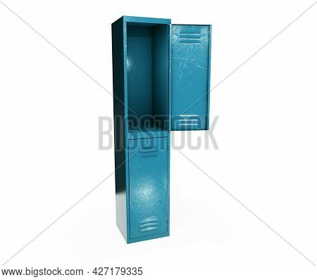 Metal Gym Lockers With One Open Door. 3d Rendering Illustration Isolated On White Background