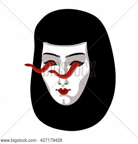 A White Female Mask With Red Snakes In The Eye Sockets, A Mystical Character, A Symbol Of Lies, A Co