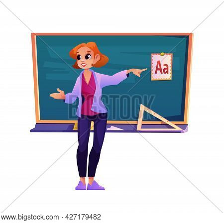 School Teacher Explaining Abc Teaching At Lesson, Isolated Woman Gesturing By Blackboard With Materi